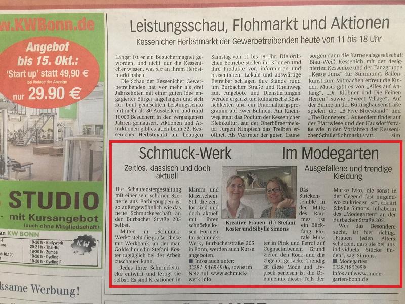 Schmuck-Werk - Bericht über die Ladeneröffnung