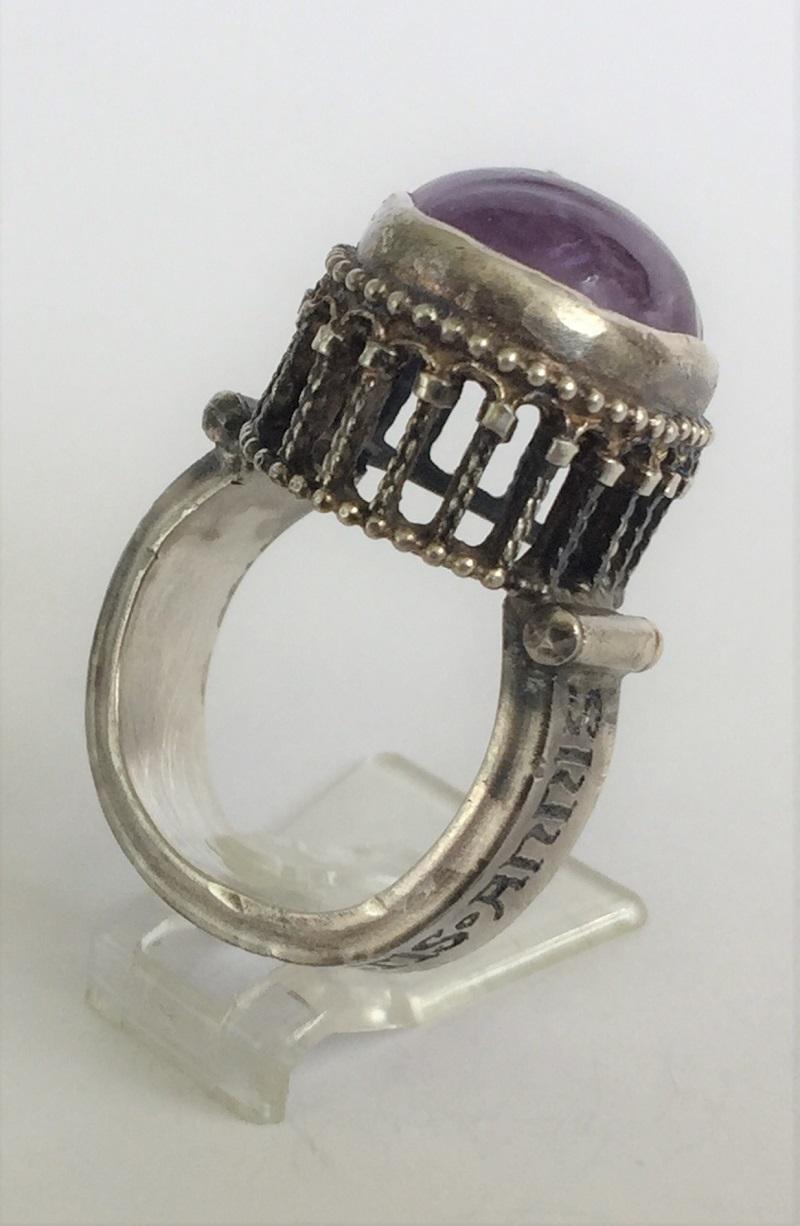 010401 Ring Silber Mittelalter Arkadenfassung Amethyst
