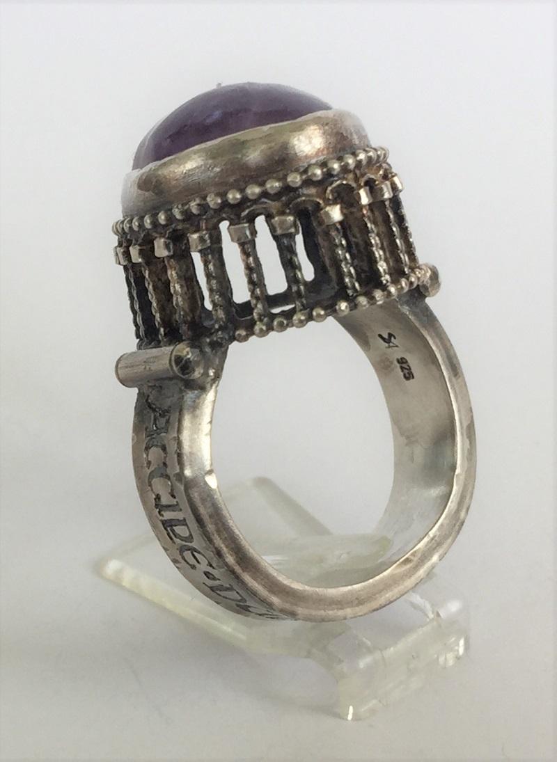 010403 Ring Silber Mittelalter Arkadenfassung Amethyst
