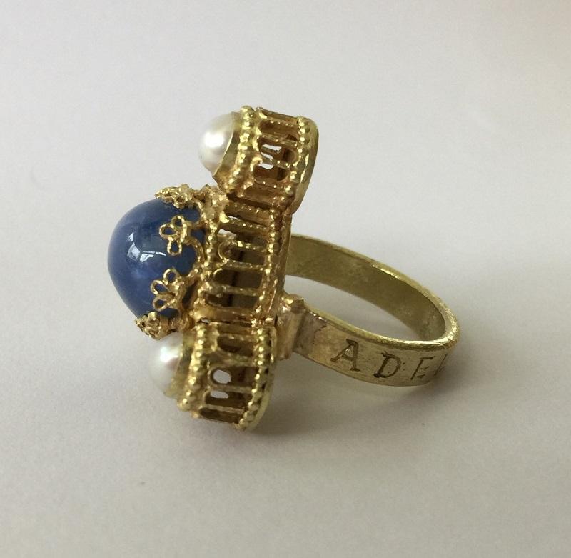 010603 Ring Kaiser Heinrich IV Canossa Gold Sternsaphir