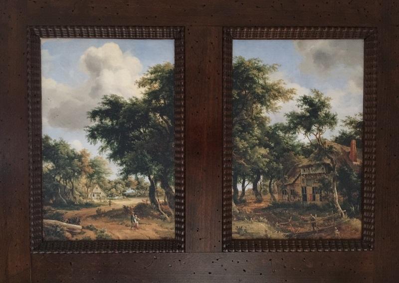 Kabinettschrank mit Landschaftsgemälde von Meindert Hobbema